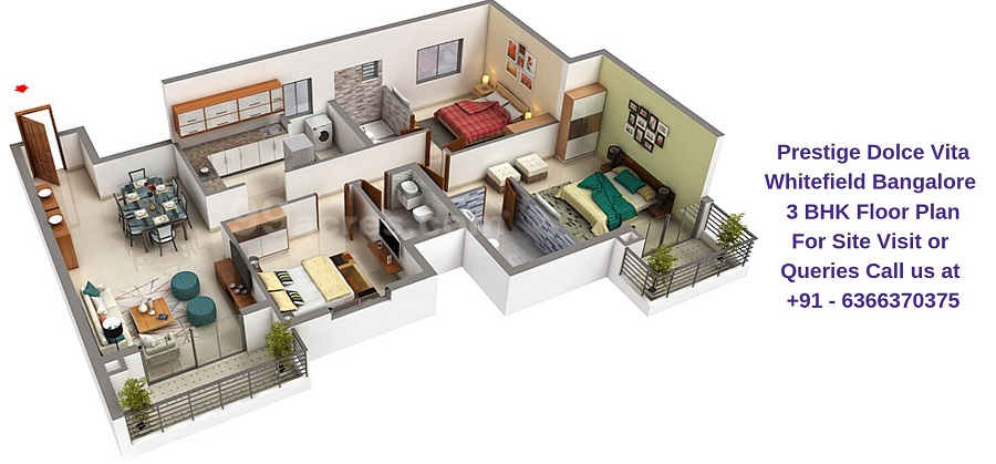 Prestige Dolce Vita Whitefield Bangalore 3 BHK Floor Plan