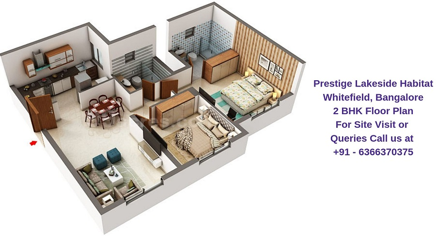 Prestige Lakeside Habitat Whitefield, Bangalore 2 BHK Floor Plan