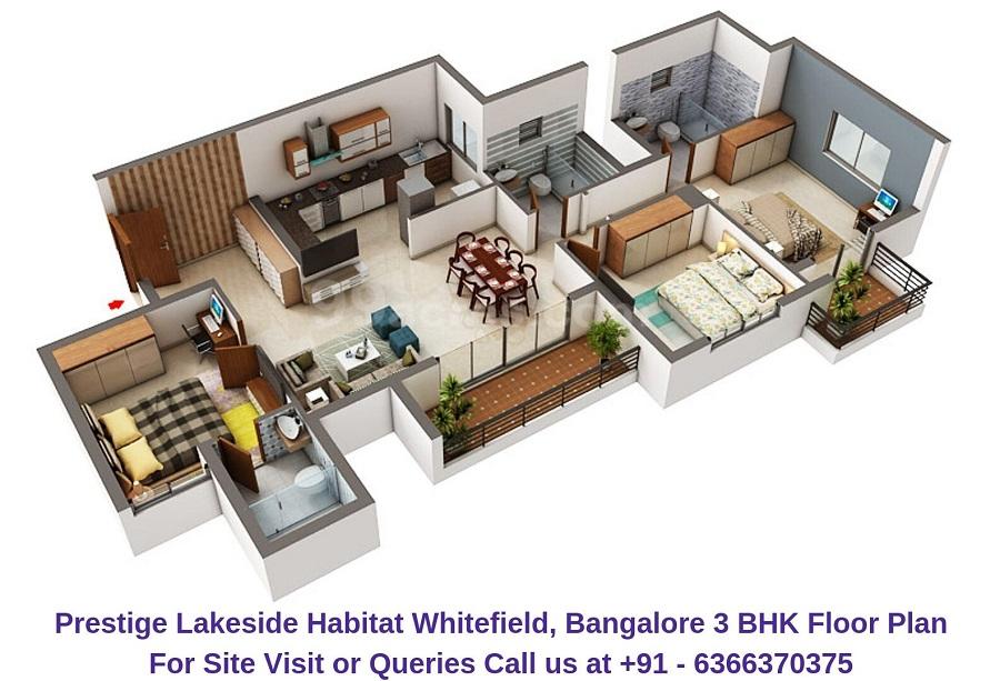 Prestige Lakeside Habitat Whitefield,Bangalore 3 BHK Floor Plan