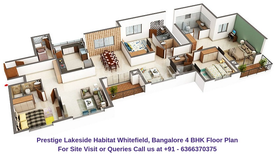 Prestige Lakeside Habitat Whitefield, Bangalore 4 BHK Floor Plan