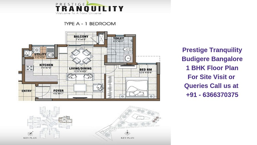 Prestige Tranquility Budigere Bangalore 1 BHK Floor Plan