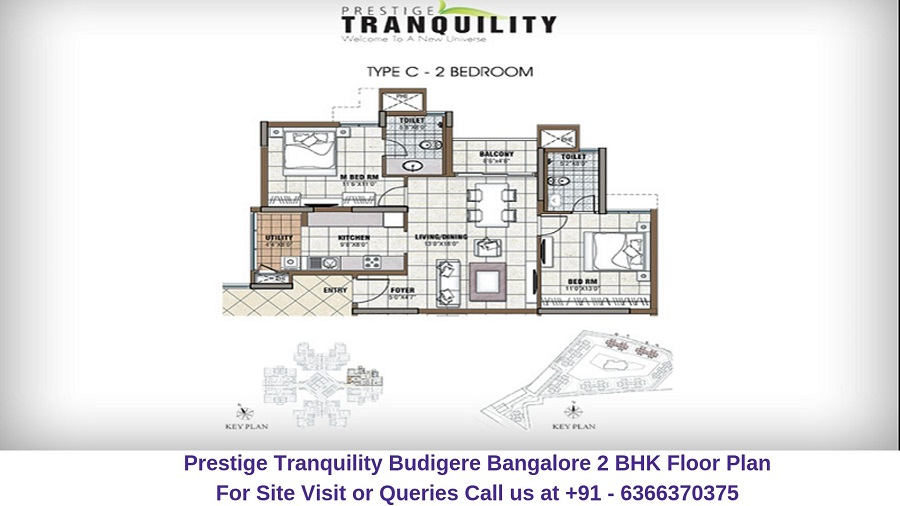 Prestige Tranquility Budigere Bangalore 2 BHK Floor Plan