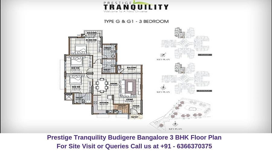 Prestige Tranquility Budigere Bangalore 3 BHK Floor Plan