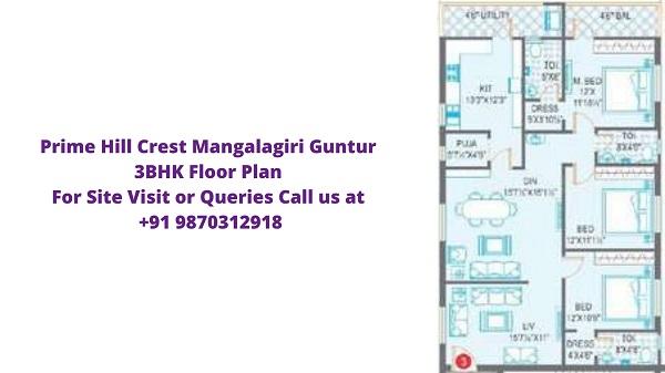 Prime Hill Crest Mangalagiri Guntur 3bhk Floor Plan