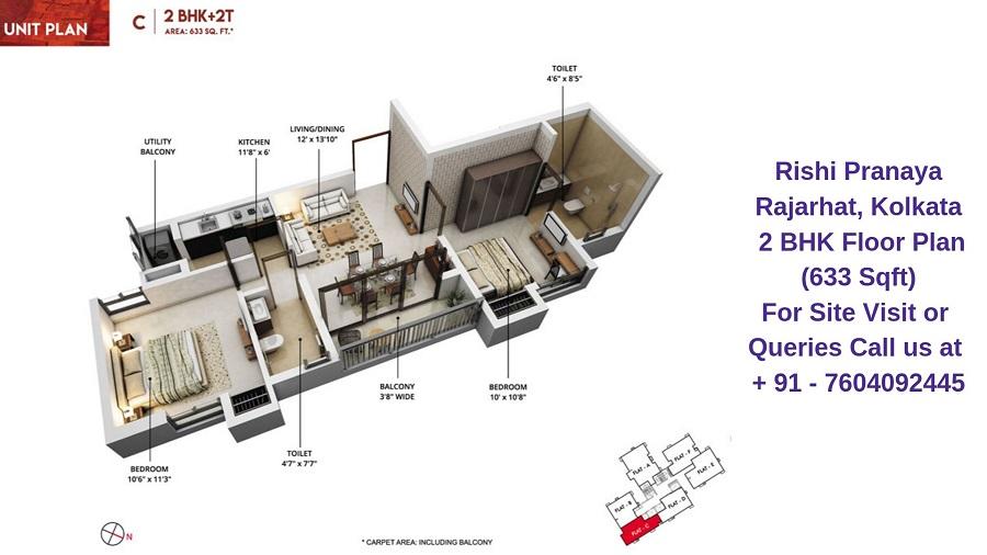 Rishi Pranaya Rajarhat, Kolkata 2 BHK Floor Plan 633 Sqft