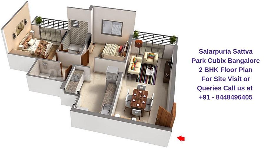 Salarpuria Sattva Park Cubix Devanahalli Bangalore 2 BHK Floor Plan