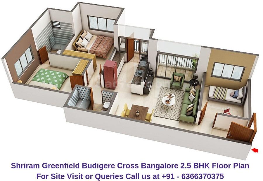 Shriram Greenfield Budigere Cross,Bangalore 2.5 BHK Floor Plan