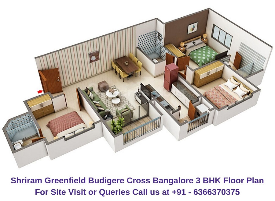 Shriram Greenfield Budigere Cross,Bangalore 3 BHK Floor Plan