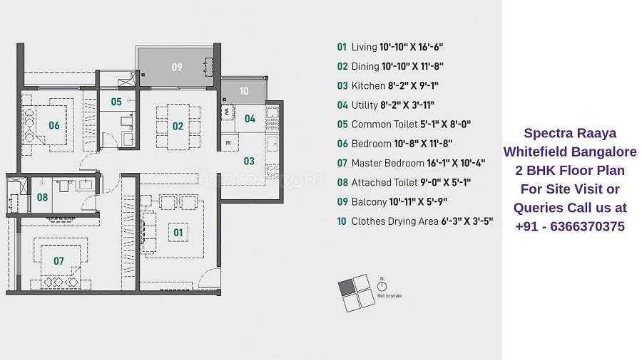 Spectra Raaya Whitefield Bangalore 2 BHK Floor Plan