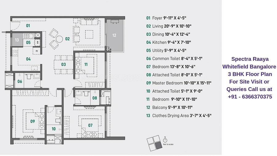 Spectra Raaya Whitefield Bangalore 3 BHK Floor Plan