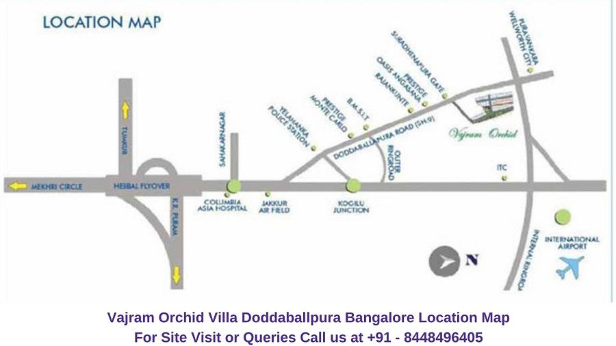 Vajram Orchid Villa Doddaballpura Road Bangalore Location Map