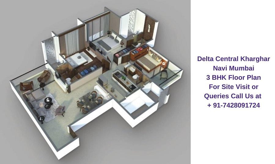 Balaji Delta Central Kharghar Navi Mumbai 3 BHK Floor Plan