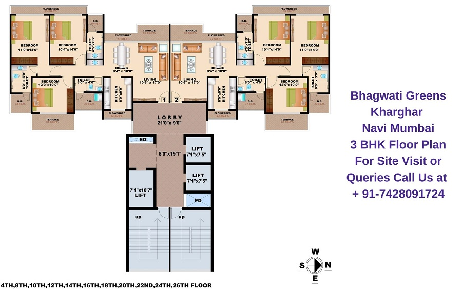 Bhagwati Greens Kharghar Navi Mumbai 3 BHK Floor Plan