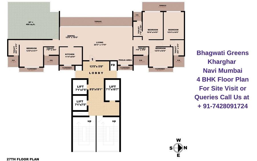 Bhagwati Greens Kharghar Navi Mumbai 4 BHK Floor Plan