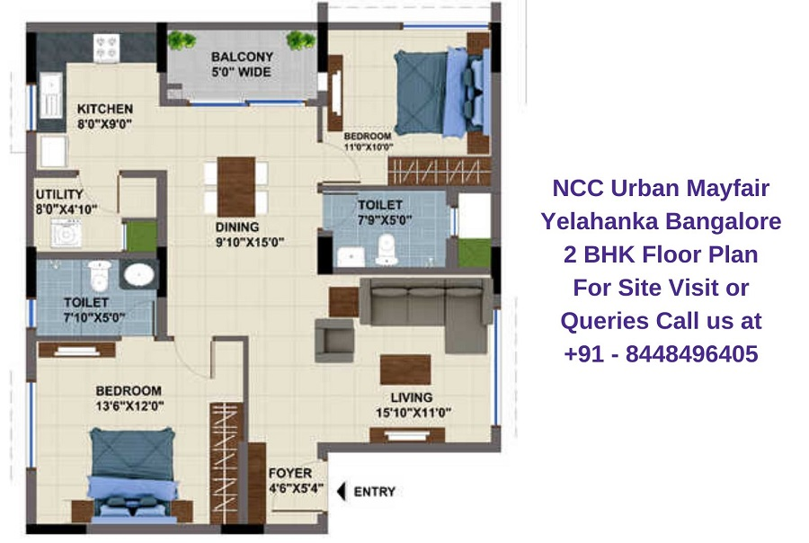 NCC Urban Mayfair Yelahanka Bangalore 2 BHK Floor Plan