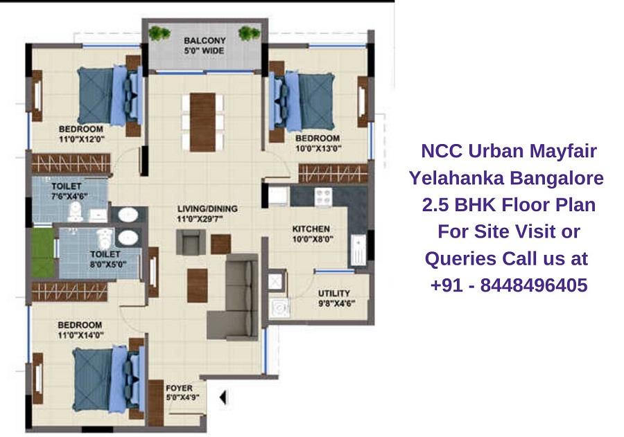 NCC Urban Mayfair Yelahanka Bangalore 2.5 BHK Floor Plan