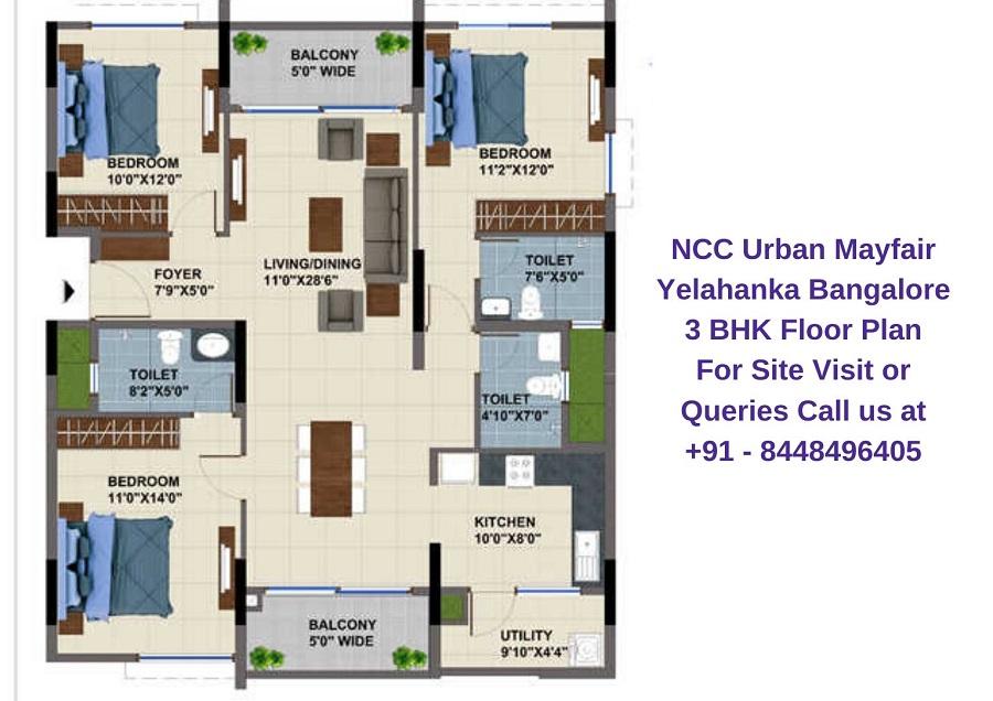 NCC Urban Mayfair Yelahanka Bangalore 3 BHK Floor Plan