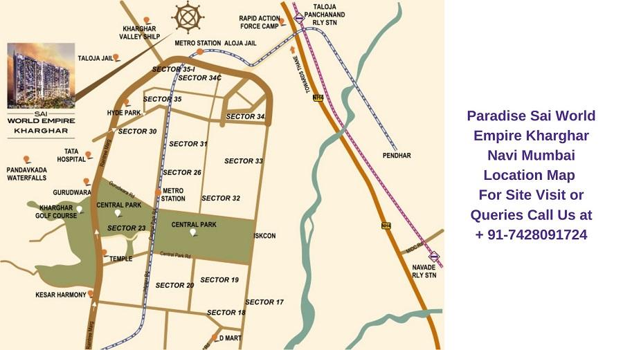 Paradise Sai World Empire Kharghar Navi Mumbai Location Map
