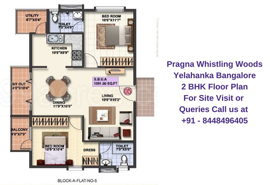 Pragna Whistling Woods Yelahanka Bangalore 2 BHK Floor Plan