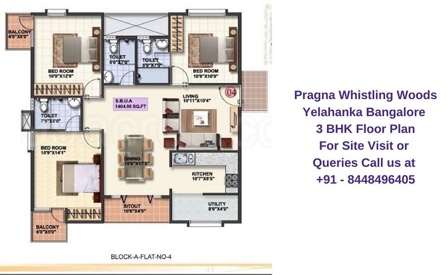 Pragna Whistling Woods Yelahanka Bangalore 3 BHK Floor Plan