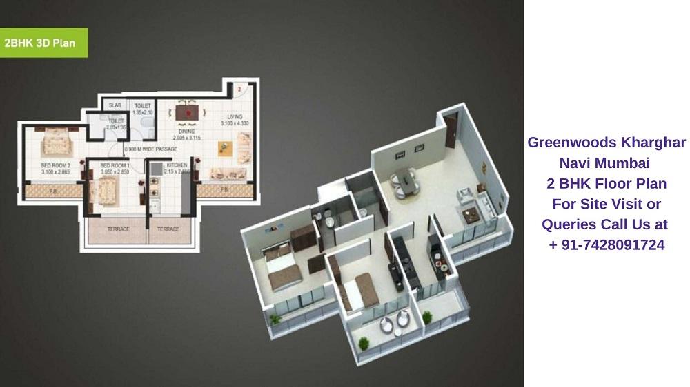 Sai Proviso Greenwoods Kharghar Navi Mumbai 2 BHK Floor Plan