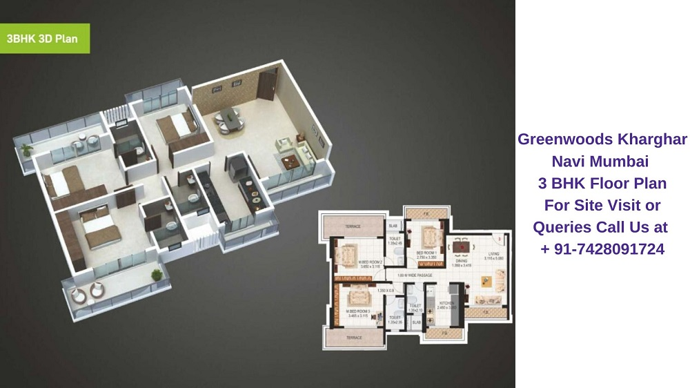 Sai Proviso Greenwoods Kharghar Navi Mumbai 3 BHK Floor Plan