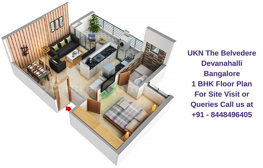 UKN The Belvedere Devanahalli Bangalore 1 BHK Floor Plan