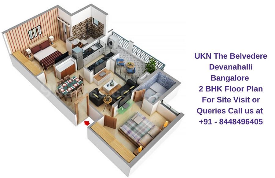 UKN The Belvedere Devanahalli Bangalore 2 BHK Floor Plan