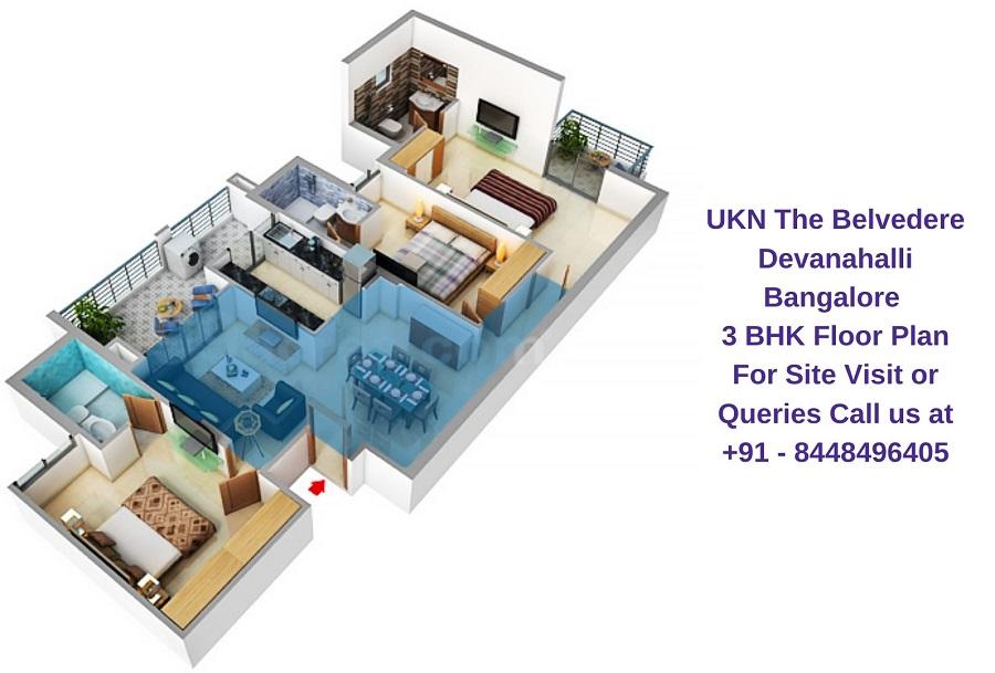 UKN The Belvedere Devanahalli Bangalore 3 BHK Floor Plan
