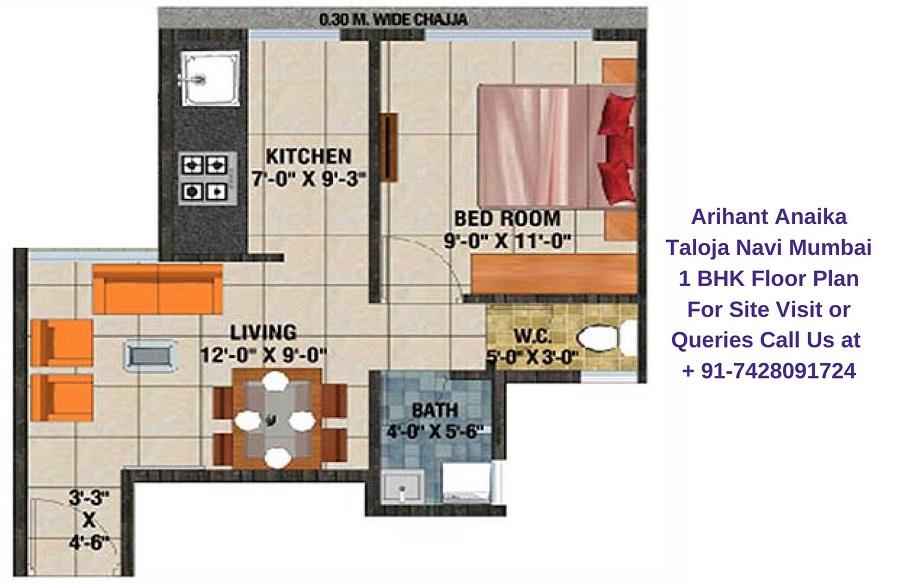 Arihant Anaika Taloja Navi Mumbai 1 BHK Floor Plan