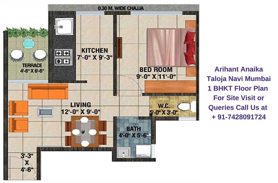 Arihant Anaika Taloja Navi Mumbai 1 BHKT Floor Plan