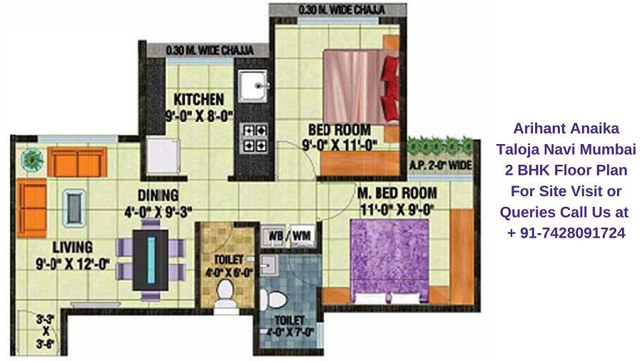Arihant Anaika Taloja Navi Mumbai 2 BHK Floor Plan