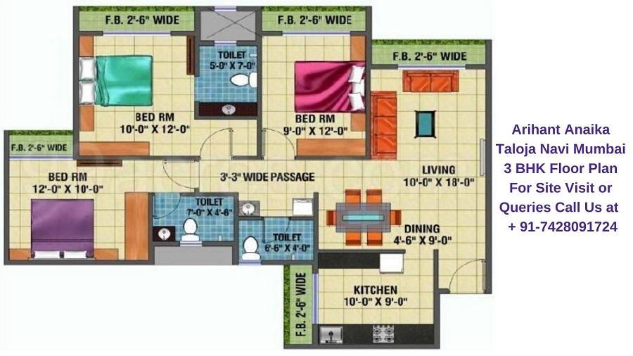 Arihant Anaika Taloja Navi Mumbai 3 BHK Floor Plan