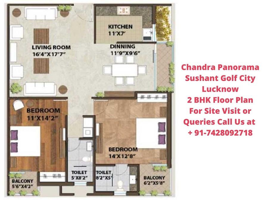 Chandra Panorama Sushant Golf City Lucknow 2 BHK Floor Plan