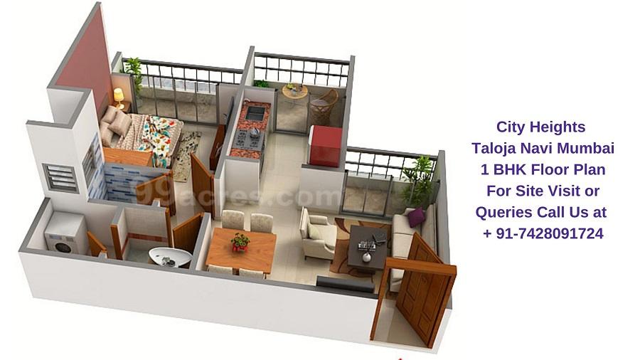 City Heights Taloja Navi Mumbai 1 BHK Floor Plan