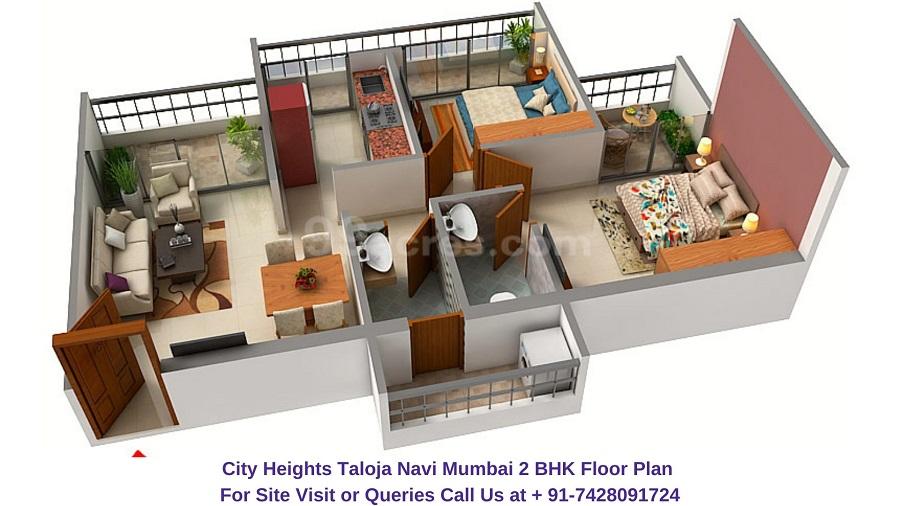 City Heights Taloja Navi Mumbai 2 BHK Floor Plan