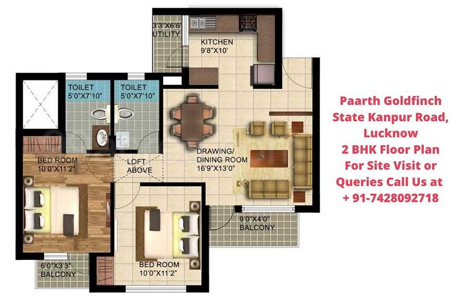 Paarth Goldfinch State Kanpur Road, Lucknow 2 BHK Floor Plan