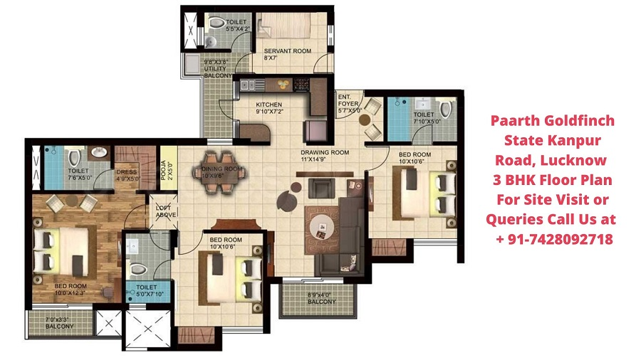 Paarth Goldfinch State Kanpur Road, Lucknow 3 BHK Floor Plan