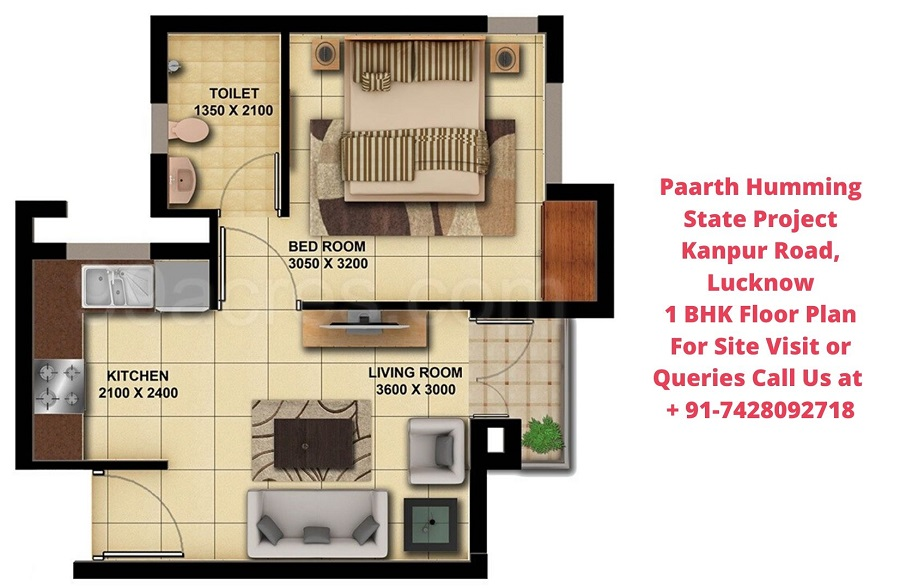 Paarth Humming State Project Kanpur Road, Lucknow 1 BHK Floor Plan