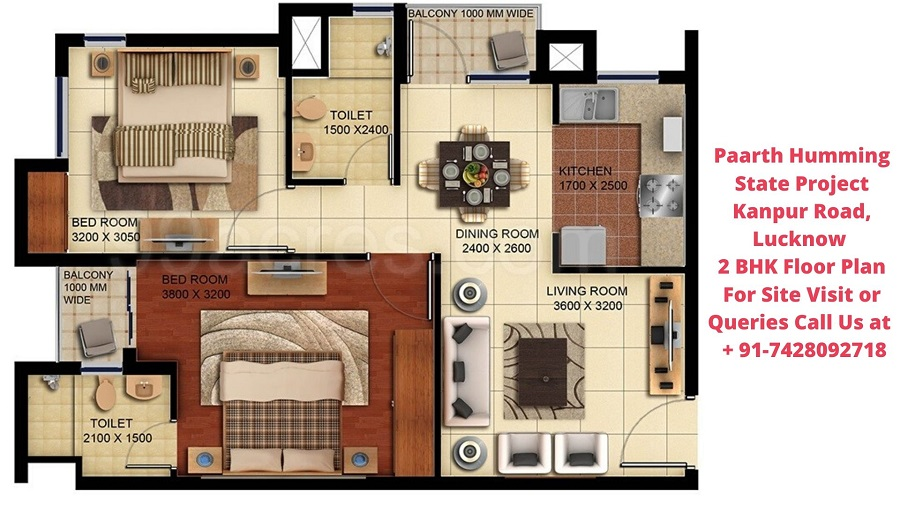 Paarth Humming State Project Kanpur Road, Lucknow 2 BHK Floor Plan