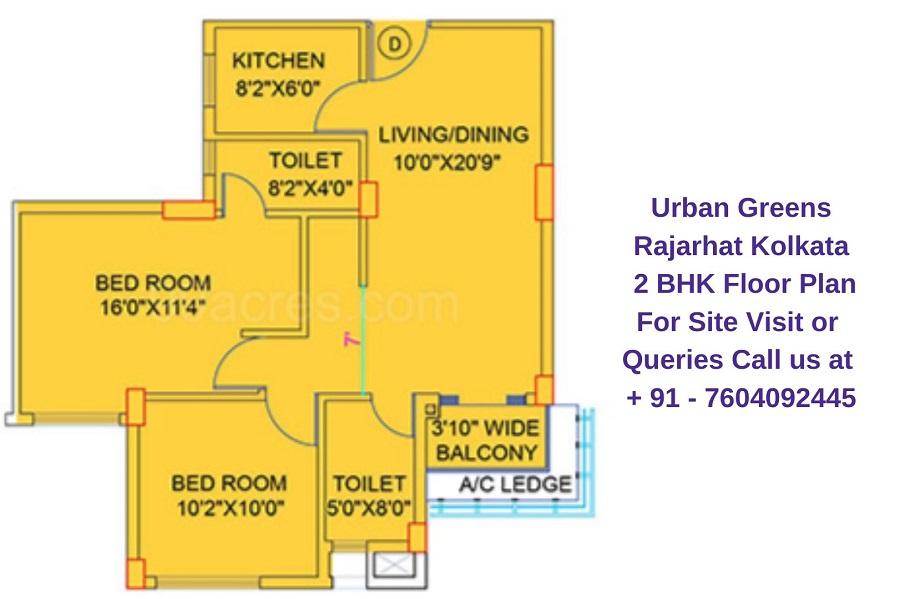 Urban Greens Rajarhat Kolkata 2 BHK Floor Plan