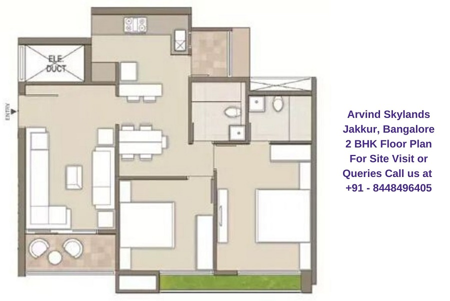 Arvind Skylands Jakkur, Bangalore 2 BHK Floor Plan