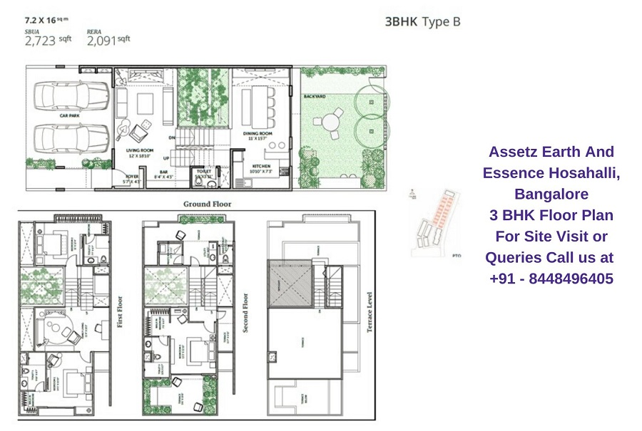 Assetz Earth And Essence Hosahalli, Bangalore 3 BHK Floor Plan