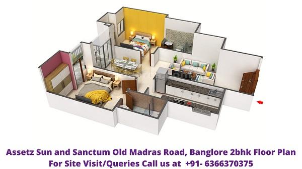 Assetz Sun and Sanctum Old Madras Road Banglore 2bhk floor plan