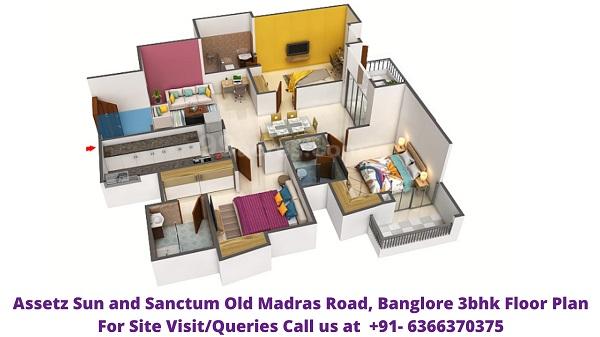 Assetz Sun and Sanctum Old Madras Road Banglore 3bhk floor plan