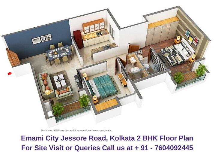 Emami City Jessore Road, Kolkata 2 BHK Floor Plan