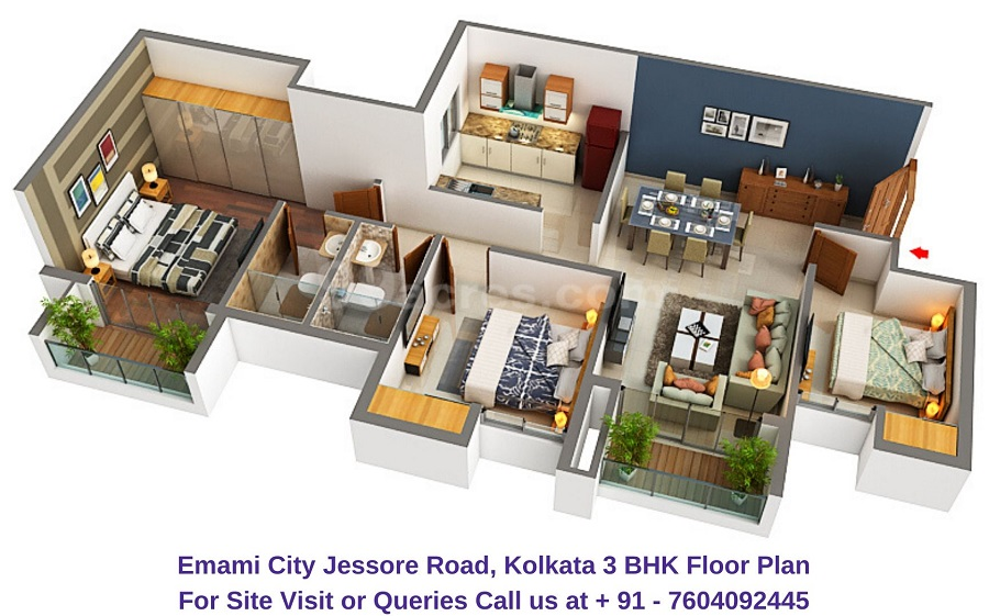 Emami City Jessore Road, Kolkata 3 BHK Floor Plan