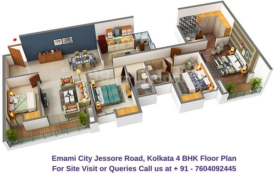 Emami City Jessore Road, Kolkata 4 BHK Floor Plan