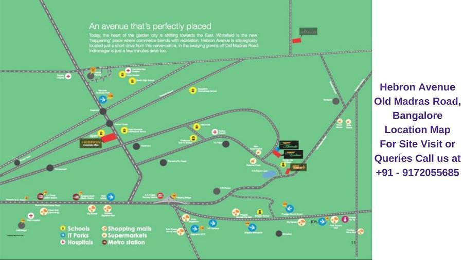 Hebron Avenue Old Madras Road, Bangalore Location Map