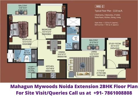 Mahagun Mywoods Noida Extension 2BHK Floor Plan